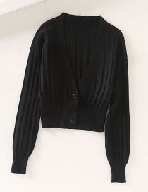 Fashion Black V-neck Knit Pit Buckle Sweater