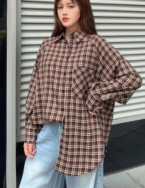 Fashion Color Plaid Lapel Open Shirt