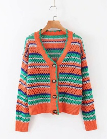 Fashion Orange Strip Striped Knit V-neck Single-breasted Cardigan