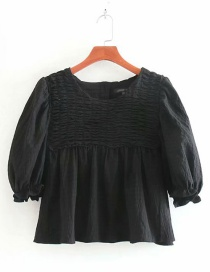 Fashion Black Pleated Textured Round Neck Pullover Shirt