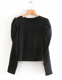 Fashion Black Fluffy Sleeved Round Neck Pullover Sweater