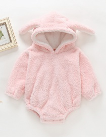 Fashion Pink Plush Rabbit Ears Hooded Robes