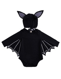 Fashion Black Halloween Bat Sleeve Triangle Jumpsuit Hat Two-piece Set