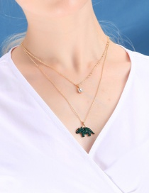 Fashion Gold Small Rhino Double Crystal Necklace