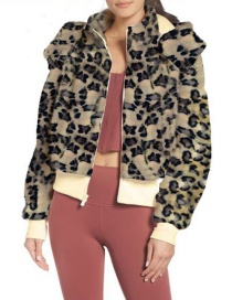 Fashion Leopard Lapel Hooded Zipper Plush Jacket