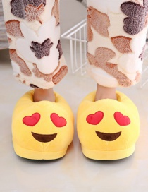 Fashion 1 Yellow Big Love Cartoon Expression Plush Bag With Cotton Slippers