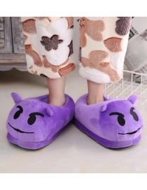 Fashion 13 Purple Cartoon Expression Plush Bag With Cotton Slippers