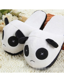 Fashion Black + White Cartoon Panda Plush Padded Cotton Slippers