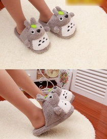 Fashion Gray Cartoon Chinchilla Non-slip Plush Cotton Slippers