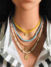 Fashion Color Beaded Shell Starfish Rice Bead Necklace