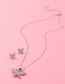 Fashion Gold Diamond Butterfly Necklace Earring Set