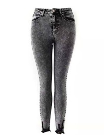 Fashion Snowflake Black Feet Raw Stretch Jeans