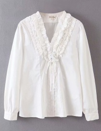 Fashion White Fungus Flower Tufted Shirt