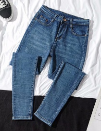 Fashion Blue Washed High-waisted Feet Denim Pants