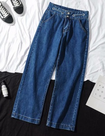 Fashion Dark Blue Straight Washed Jeans