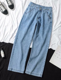 Fashion Light Blue Straight Washed Jeans