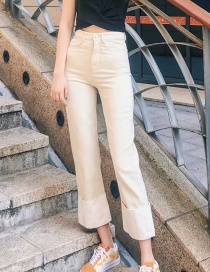 Fashion White Washed Trousers Cuffed Printed High Waist Straight Jeans
