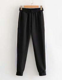 Fashion Black Colorblock Striped Straight Pants