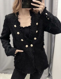 Fashion Black Double-breasted Tweed Jacket