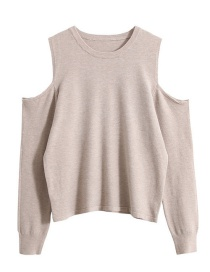 Fashion Oatmeal Off-the-shoulder Sweater