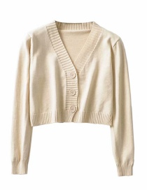 Fashion Beige V-neck Single-breasted Sweater