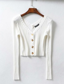 Fashion White Knit V-neck Single-breasted Sweater