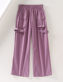 Fashion Purple Elasticated Waist Multi-pocket Sports Drawstring Dressing Overalls