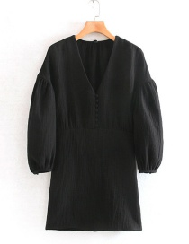 Fashion Black V-neck Fluffy Long-sleeved Dress