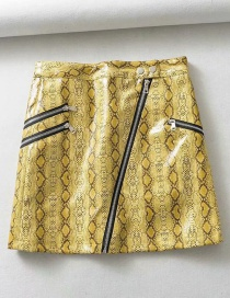 Fashion Yellow Snake-embossed Multi-zip Half-length Leather Skirt