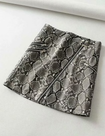 Fashion Gray Snake-embossed Multi-zip Half-length Leather Skirt