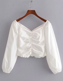 Fashion White Generous Collar Single-breasted Ruffled Shirt