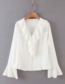 Fashion White Ruffled Trumpet Sleeve V-neck Shirt