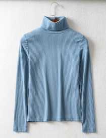 Fashion Lake Blue Threaded Turtleneck T-shirt
