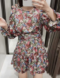 Fashion Color Floral Print Ruffle Dress