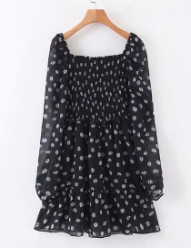 Fashion Black Chiffon Floral Pleated Dress
