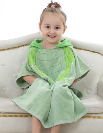 Fashion Green Frog Cotton Hooded Children's Bathrobe