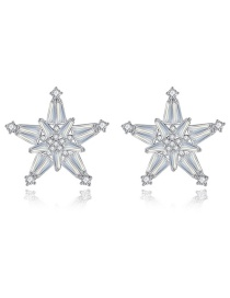 Fashion Platinum-t04c26 Pentagram Earrings