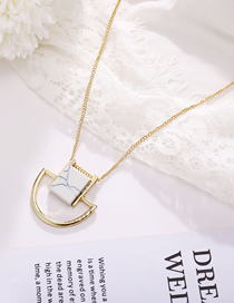 Fashion Gold Marble Semicircular Geometric Necklace