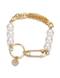 Fashion Gold String Pearl Metal Paper Clip Circle Bracelet
