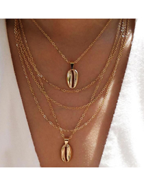 Fashion Gold Metal Shell Multi-layer Necklace