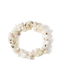 Fashion White Geometric Irregular Stretch Contrast Gravel Bracelet