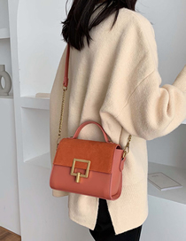 Fashion Brown Scrub Lock Chain Shoulder Bag