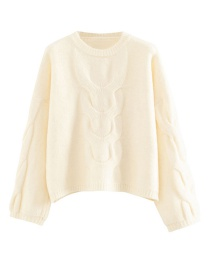 Fashion White Large Twisted Eight-head Sweater