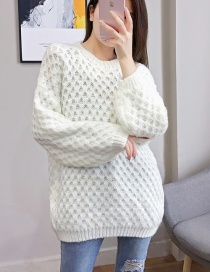 Fashion White Pullover Knit Top