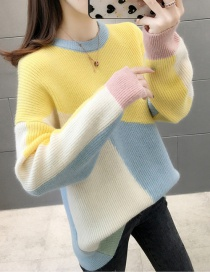 Fashion Blue Collar Colorblock Sweater