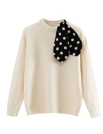 Fashion Creamy-white Polka Dot Streamer Stitching Top