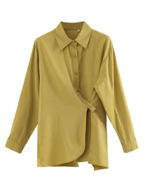 Fashion Yellow Skewered Irregular Split Shirt