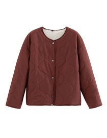 Fashion Dark Red Imitation Lambskin Pressure Line On Both Sides Of The Jacket