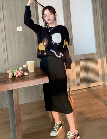 Fashion Black Monkey Knit Sweater + Knit Half Skirt Set