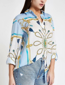 Fashion Blue Chain Printed Shirt
